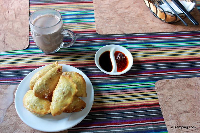Traditional Tibetan meal: momos and salty milk tea