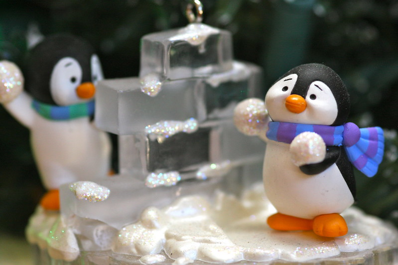 Christmas decorations - Penguins building an igloo