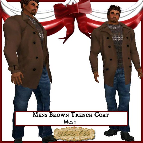 Shabby Chic Mens Brown Trench Coat by Shabby Chics