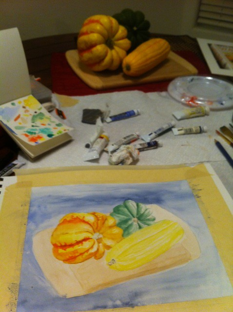 Gourds in progress - end of session one