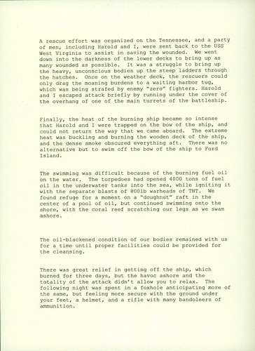 Memories of Attack on Pearl Harbor, Richard Hall, Page 2 of 2