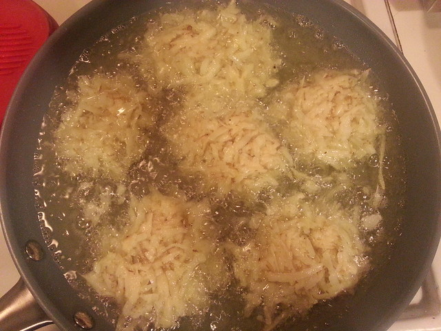 Frying Potato Latkes