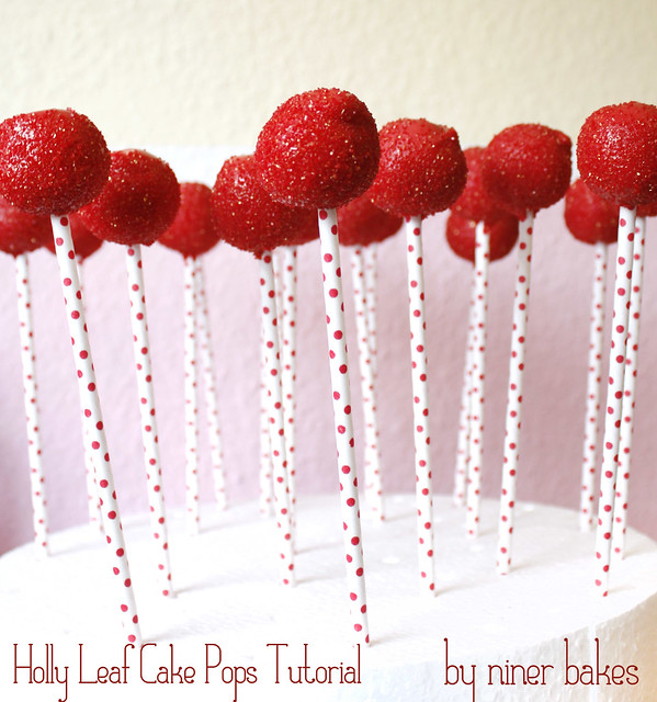 Christmas Cake Pops Tutorial: How to make Holly Leaf Cake Pops by niner bakes