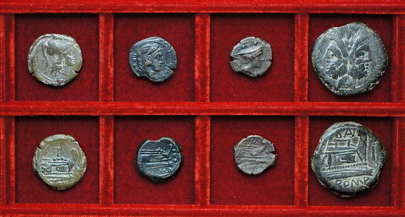 RRC 177 PT bronzes, RRC 178 CINA Cornelia sextans, RRC 179 BAL Naevia As, Ahala collection, coins of the Roman Republic