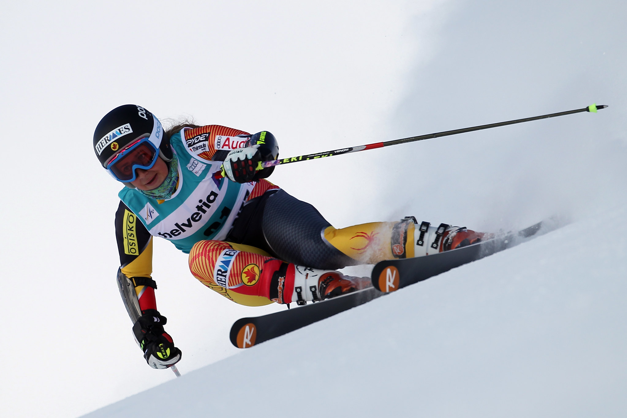 Marie-Pier Préfontaine races World Cup giant slalom in St. Moritz, Switzerland.