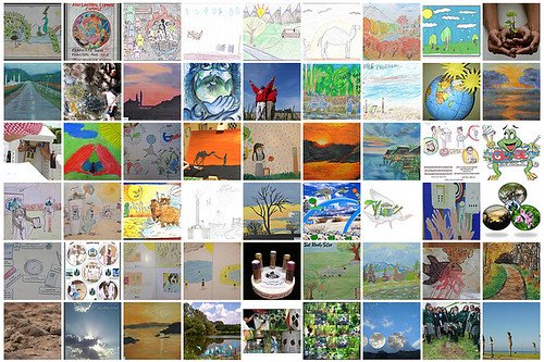 Collage of art submissions depicting climate-related topics for the GLOBE 2012 Calendar Art Competition