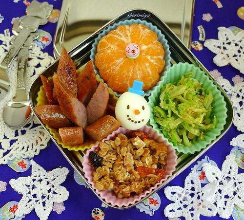 Snowman Quail Egg Christmas Bento by sherimiya ♥