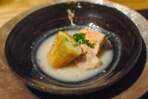 Monkfish Liver and Eggplant with White Miso Sauce