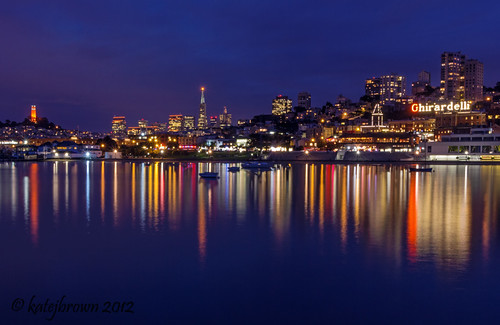 sanfrancisco blue sunset red orange white skyline cityscape gray coittower bluehour transamerica ghirardelli aquaticpark katejbrown