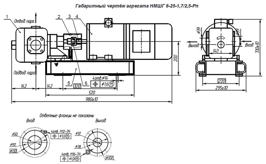 Габаритная характеристика насосов НМШГ 8-25-1,7/2,5-Рп