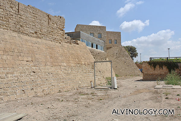 A portion of the Crusader walls and moat still standing today