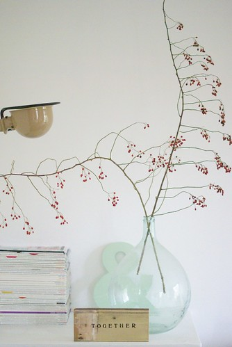 red berry twigs [togehter] by wood & wool stool