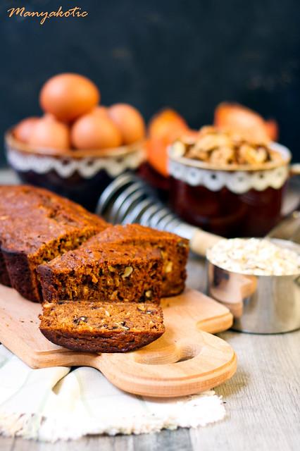 Pumpkin oat and nut tea bread