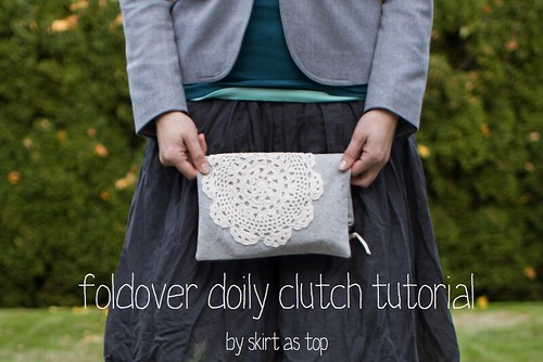 foldover doily clutch tutorial