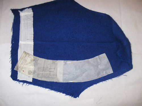 Blue coat sleeve used for skirt waistband