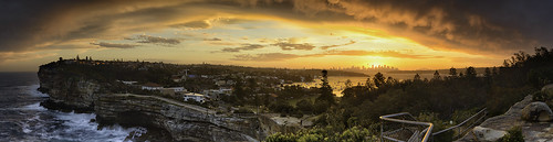sunset panorama seascape clouds landscape sydney thegap panoramic cliffs nsw newsouthwales watsonsbay stunningskies nikond800e carlzeiss50mmf20zf2planar damienseidel