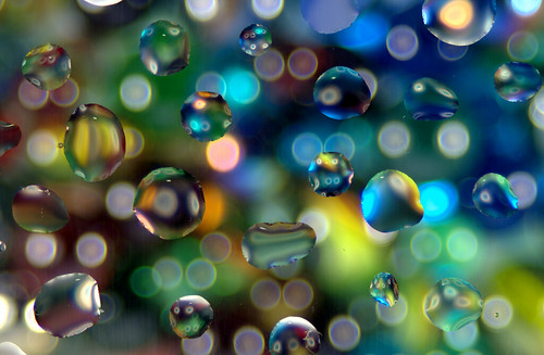 marbles through water droplets