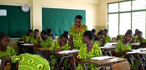 Patricia Mensah Sarpomaa SSL teaching High School students at St Louis Jubilee School, Kentinkrono, Ghana
