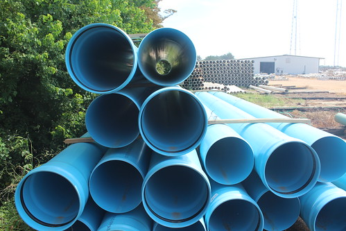 Miles of pipes are used to implement a tailwater recovery system on large farms in the Mississippi Delta.