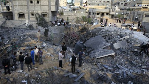 Israeli Air Force damage in Gaza on November 16, 2012. The Israelis said they were planning a ground assault against the Palestinians. by Pan-African News Wire File Photos
