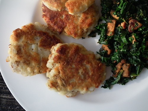 potato pancakes and kale