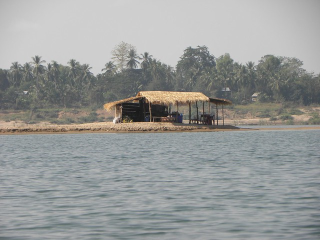 The fishermen's hut, on the Mekong in Laos