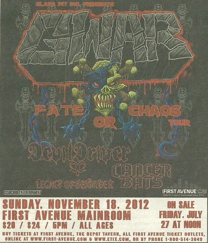 11/18/12 Gwar/ Devil Driver/ Cancer Bats @ First Avenue, Minneapolis, MN