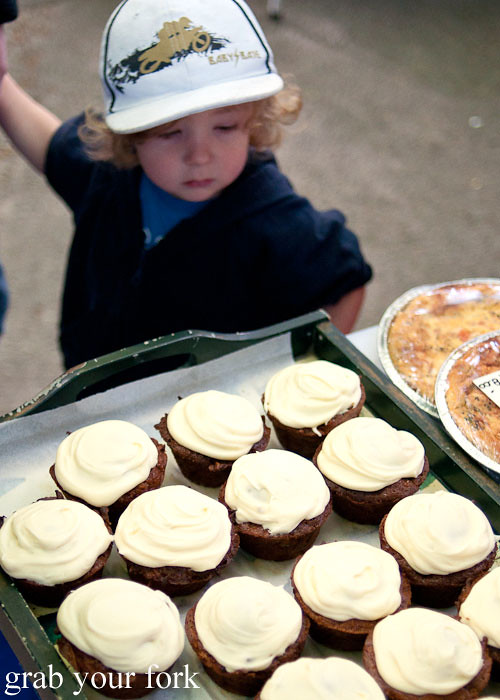 kid sees cake at christchurch farmers market canterbury