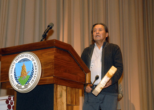 NASA Goddard Space Flight Center employee Bahe Rock gives the blessing at USDA's Native American Heritage Month Observance in the Jefferson Auditorium at the USDA South Building in Washington, D.C. on Tuesday, Nov. 20, 2012.