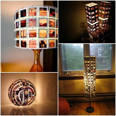 lamparas hechas con diapositivas
