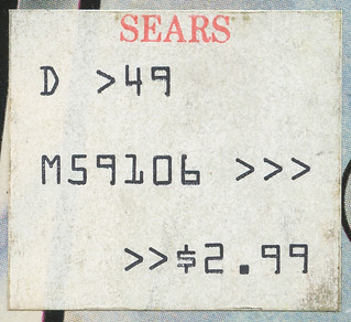 Sears Price Sticker