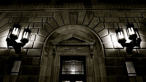 Commerce Department door upon an early arrival at work