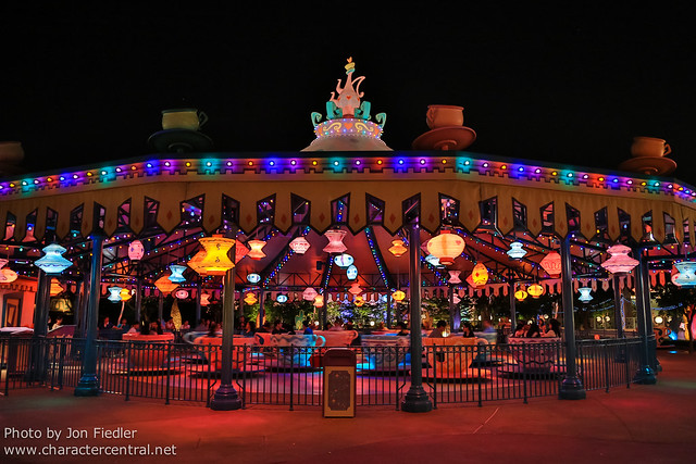 HKDL Oct 2012 - The Tea Cups at Night