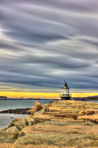 ocean sunset lighthouse water rocks magic hdr jeti magi¢