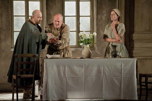 Christopher Purves as Protector, Bejun Mehta as Boy and Barbara Hannigan as Agnès  in Written on Skin © 2012 ROH/Stephen Cummiskey