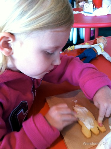 My daughter decorating a cookie at the Space Needle