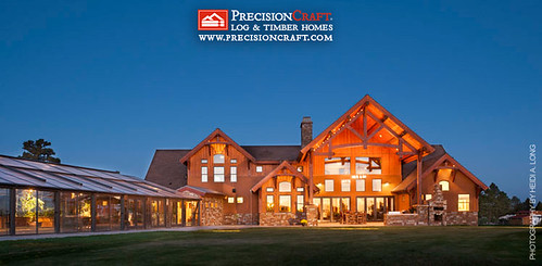 Custom Timber Frame Home | Exterior View | PrecsionCraft Arizona Timber Home