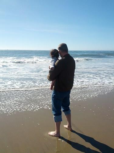 joshua and his grandpa enjoy the pacific