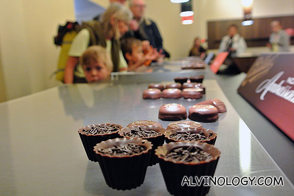 Free sampling of all the chocolate under the Callier brand