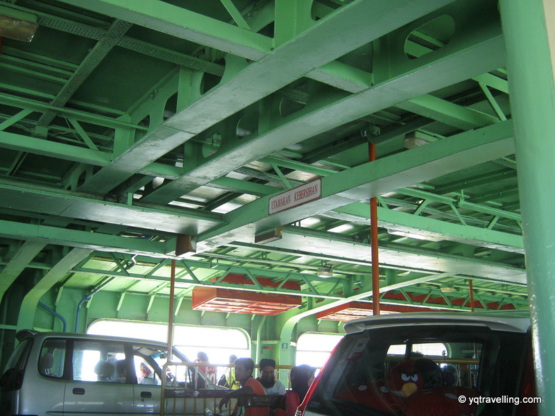 Inside the ferry with the cars