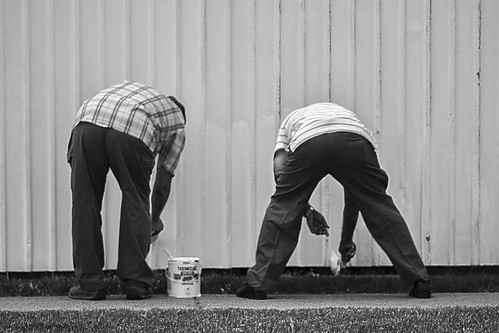 Fence Painters in Black and White