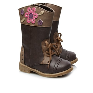 Flower Lace Up Boots for Girls