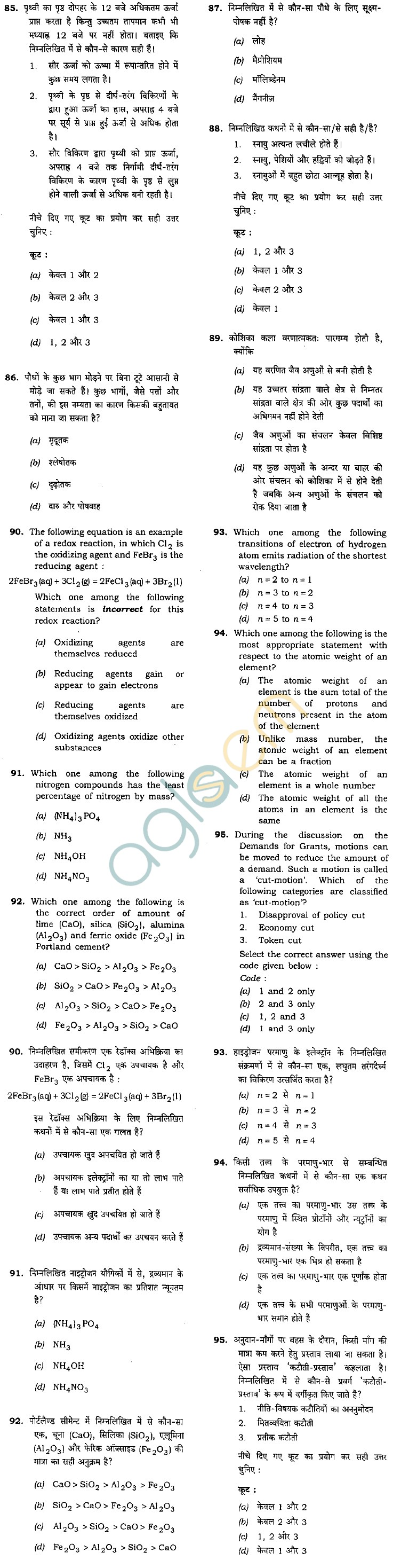NDA & NA Exam (I) 2012: Previous Year Question Paper - General Ability Test