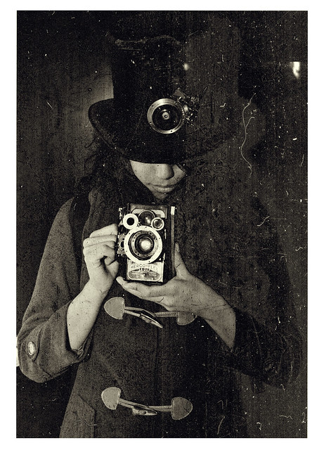 Steampunk Top hat and Herco flex camera