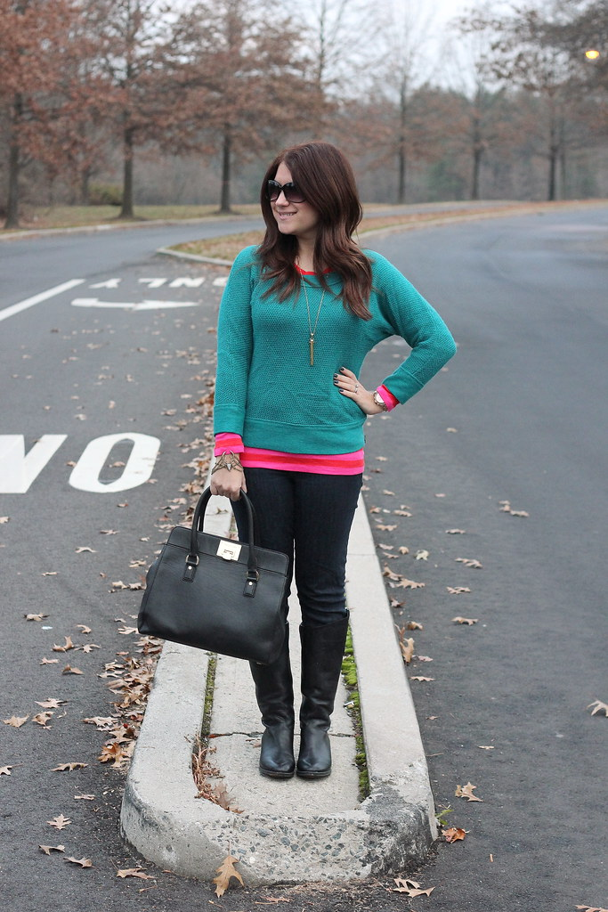 Colorful Layers: Teal and Pink Winter Outfit