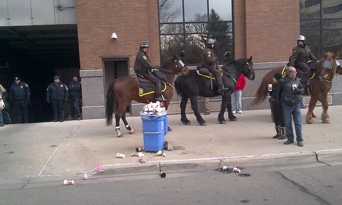 Mounted Michigan State Police in Lansing clearing the streets of thousands of demonstrators protesting right-to-work legislation. The actions took place on December 11, 2012. (Photo: Abayomi Azikiwe) by Pan-African News Wire File Photos