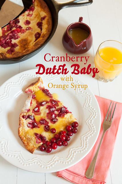 Cranberry Dutch Baby Pancake with Orange Syrup