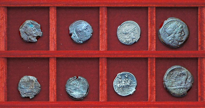 RRC 215 Q.MARC LIBO Marcia bronzes, RRC 216 L.SEMP PITIO Sempronia denarius, semis, Ahala collection, coins of the Roman Republic