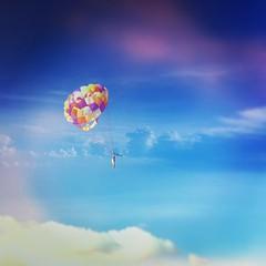 hot air balloon(0.0), vehicle(0.0), sailing(0.0), hot air ballooning(0.0), balloon(0.0), toy(0.0), aircraft(1.0), parachute(1.0), cloud(1.0), air sports(1.0), sports(1.0), parasailing(1.0), parachuting(1.0), extreme sport(1.0), blue(1.0), sky(1.0), flight(1.0),