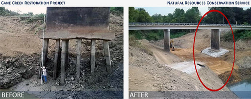 Critically damaged pilings from the erosion of past flooding events nearly crippled the mobility of residents in the Cane Creek watershed